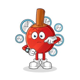 Raquette de tennis de table avec dessin animé de montre-bracelet. mascotte de dessin animé