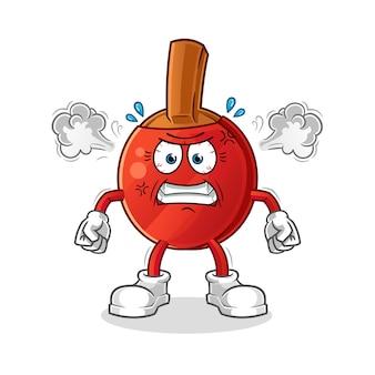 Raquette de tennis de table mascotte très en colère. dessin animé