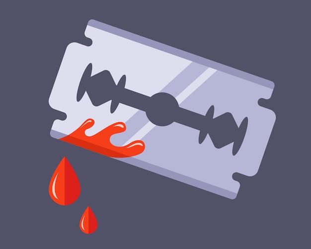 Rasage du visage raté. tentative de suicide avec une blessure sanglante. illustration vectorielle plane isolée sur fond blanc.
