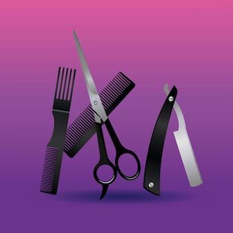 Rasoir et ciseaux avec peignes outils de coiffure équipement icônes illustration