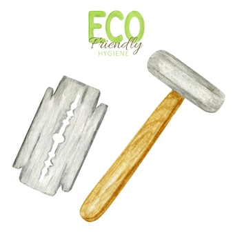 Rasoir de sécurité avec lames. rasoir réutilisable avec manche en bois.