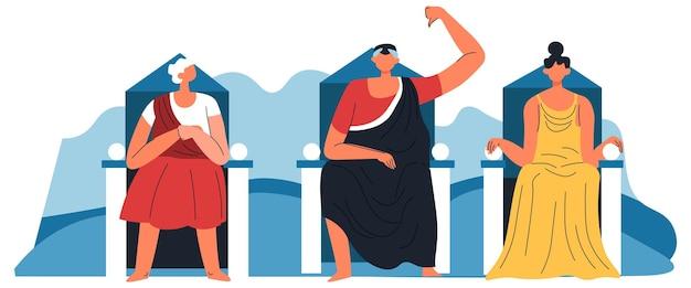Rassemblement de personnes sur le vote, les juges déclarant la conclusion. non et signe négatif du pouce vers le bas. cour ou décision, jury ou événements historiques dans l'empire romain. vecteur dans l'illustration de style plat