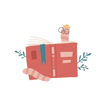 Rat de bibliothèque de dessin animé mignon avec des lunettes et un chapeau lisant derrière une illustration vectorielle de livre plat dessiné à la main