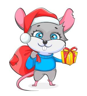 Rat en bonnet de noel tenant un sac avec des cadeaux
