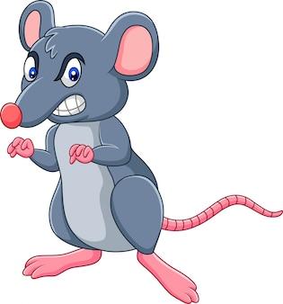 Rat de dessin animé avec une expression de colère