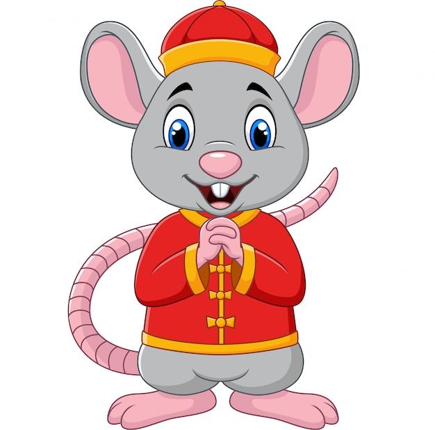 Rat de dessin animé saluant gong xi gong xi avec un costume traditionnel chinois