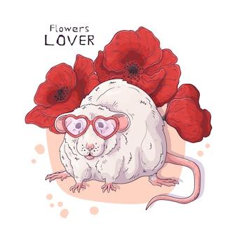 Rat réaliste mignon avec des fleurs.
