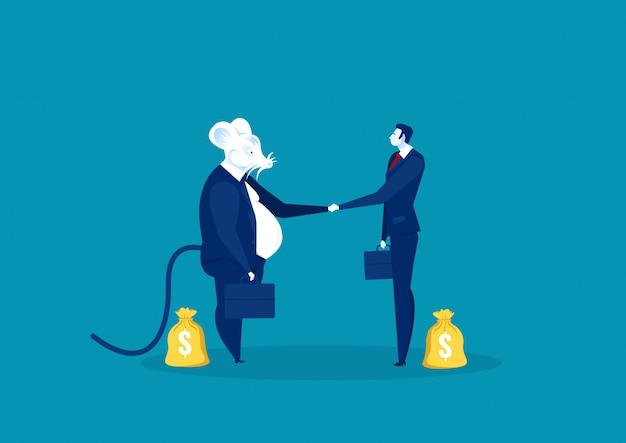 Rat serrer la main avec des gens d'affaires pour investir