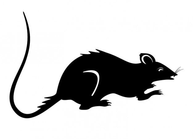 Rat silhouette vecteur de souris noir