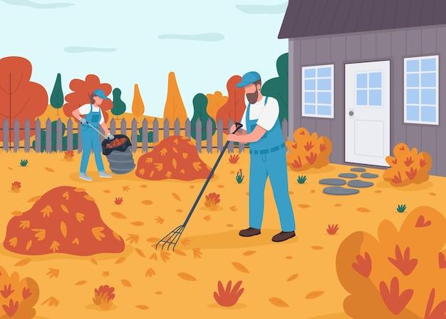 Ratisser les feuilles illustration couleur plate