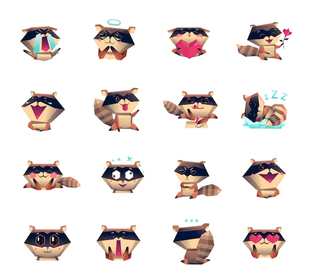 Raton laveur cartoon icons big set