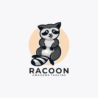 Raton laveur dessin animé logo design vector illustration couleur plate