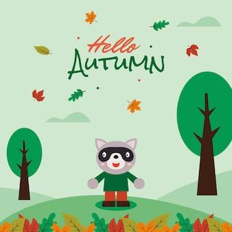 Raton laveur de dessin animé mignon dire bonjour illustration de carte de bannière d'automne vecteur premium