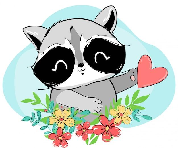 Raton laveur dessiné à la main et coeur sur fond de fleurs, bleu. illustration de personnage de dessin animé. animal mignon des bois.