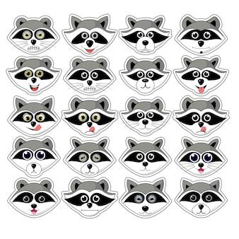 Raton laveur gargarisme, tête, expression faciale et illustration d'émotion sur fond blanc