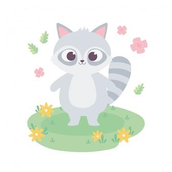 Raton laveur mignon avec des animaux de dessin animé de fleurs adorable