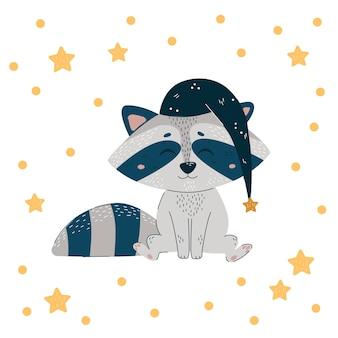 Raton laveur mignon en bonnet de nuit. affiche positive logo de bannière de carte mignonne
