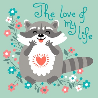 Le raton laveur mignon confesse son amour.
