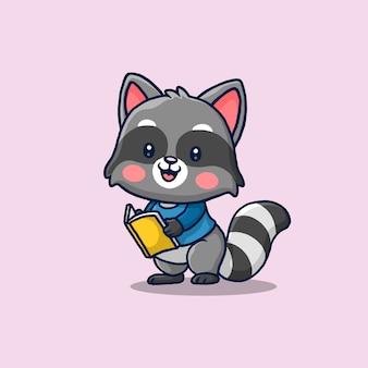 Raton laveur mignon lisant un dessin animé de livre