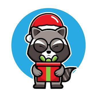 Raton laveur mignon avec le personnage de dessin animé de santa hat illustration de concept de noël