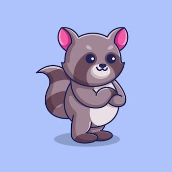 Raton laveur mignon posant avec le dessin animé de bras croisés