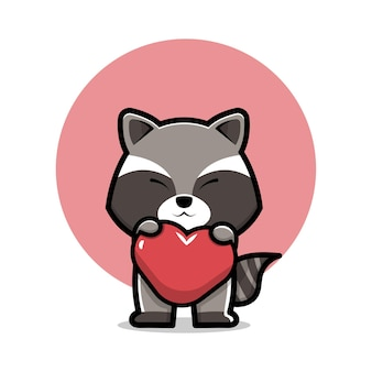 Raton laveur mignon tenant l'icône de dessin animé coeur illustration