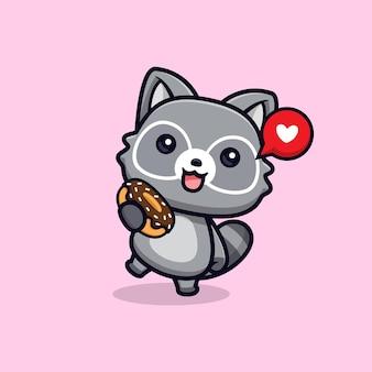 Ratons laveurs mignons heureux de manger des beignets vector illustration de caractère animal