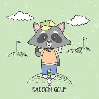 Ratons laveurs mignons jouer au golf