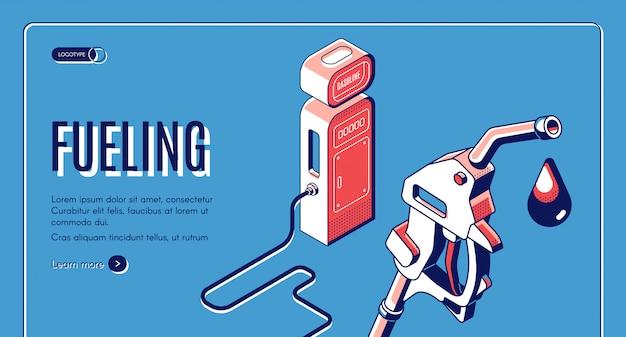 Ravitaillement, essence, essence, bannière web isométrique de station diesel.