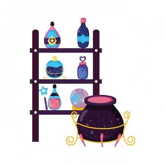 Rayonnage avec bouteilles de potion magique et chaudron de sorcière