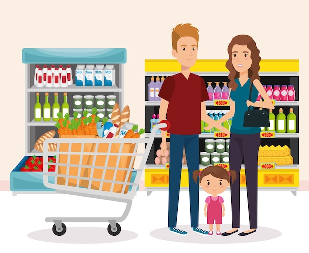 Rayonnages de supermarché avec l'achat de la famille