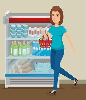 Rayonnages de supermarché avec achat de femme