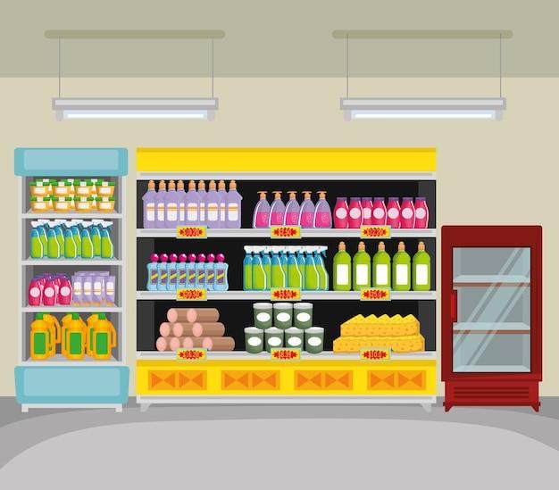 Rayonnages de supermarché avec des produits