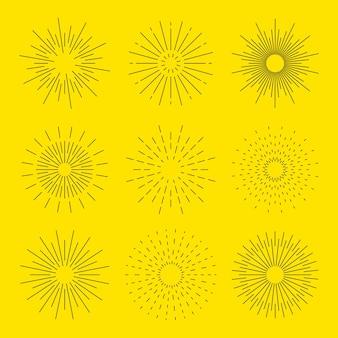 Rayons d'éclatement d'étoile dessinés à la main dans un design rétro simple explosion de doodle ou éclat du soleil