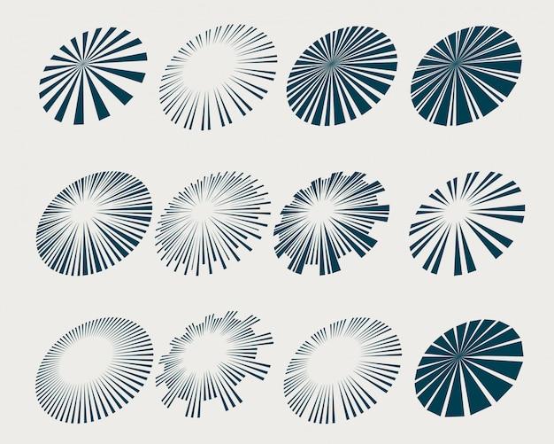 Rayons et faisceaux sunburst définis dans un style en perspective
