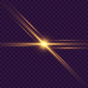 Rayons horizontaux d'or, lentille, lignes. rayons lasers. fond transparent bordé de mousseux abstrait bleu, violet. fusées lumineuses, effet.