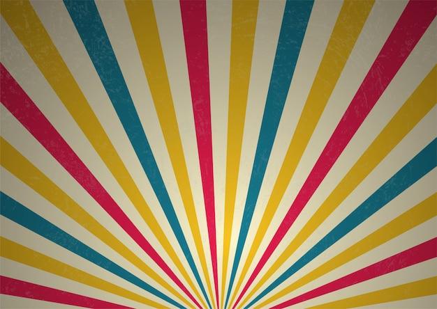 Rayons de lumière rétro affiche de performance de cirque et performances passées.