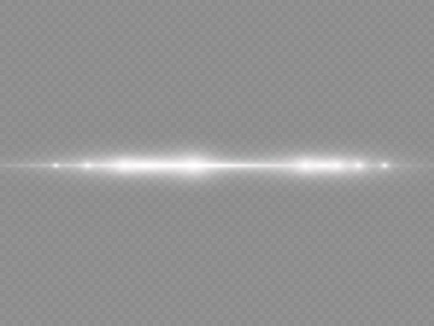Les Rayons Lumineux Clignotent Des Fusées éclairantes Horizontales Blanches Emballent Des Faisceaux Laser Qui Brillent D'une Ligne Blanche éblouissante D'or Brillant Vecteur Premium