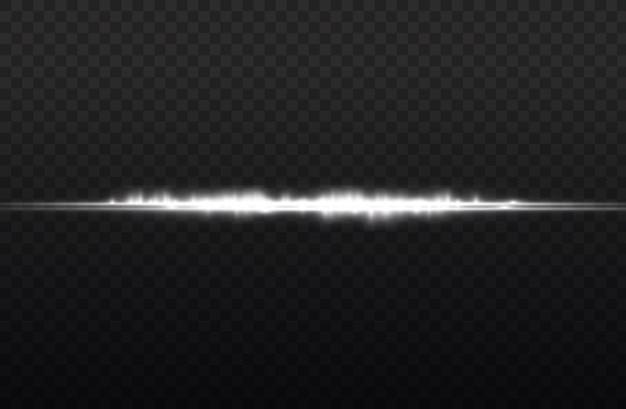 Les Rayons Lumineux Clignotent Des Fusées éclairantes Horizontales Blanches Pack De Faisceaux Laser Brillent Une Ligne Blanche Belle Fusée Vecteur Premium