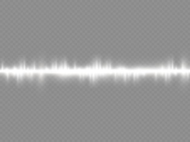 Les rayons lumineux clignotent des fusées éclairantes horizontales blanches pack de faisceaux laser brillent une ligne blanche belle fusée