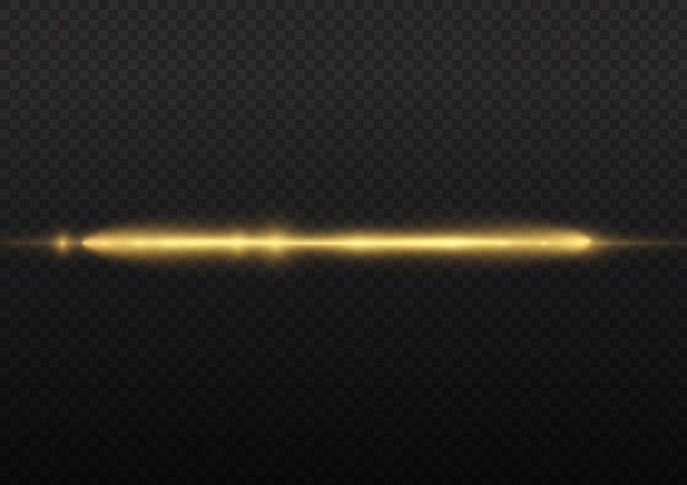 Les rayons lumineux clignotent des fusées éclairantes horizontales jaunes emballent des faisceaux laser brillent une ligne jaune belle fusée éclairante
