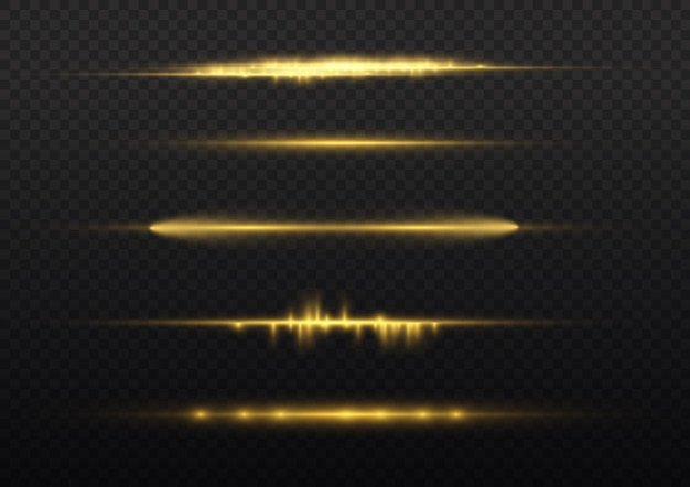 Les Rayons Lumineux Clignotent Des Fusées éclairantes Horizontales Jaunes Emballent Des Faisceaux Laser Brillent Une Ligne Jaune Belle Fusée éclairante Vecteur Premium
