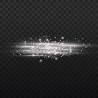 Les rayons lumineux horizontaux brillent les faisceaux de lignes blanches