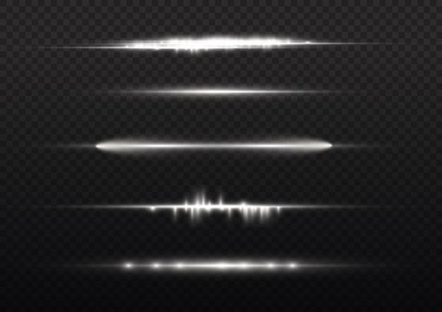 Les Rayons Lumineux Horizontaux Clignotent En Blanc Les Fusées éclairantes Horizontales Emballent Les Faisceaux Laser Brillent En Ligne Blanche Vecteur Premium