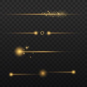 Les rayons lumineux horizontaux clignotent des faisceaux lumineux jaunes