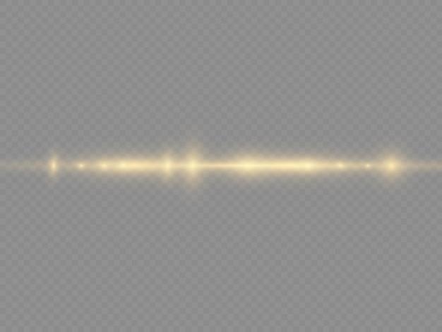 Rayons lumineux horizontaux, faisceau laser horizontal jaune