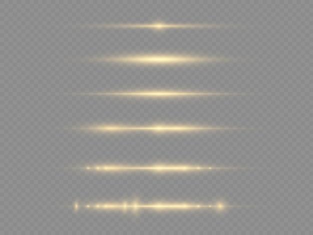 Rayons lumineux horizontaux, faisceaux lumineux incandescents.