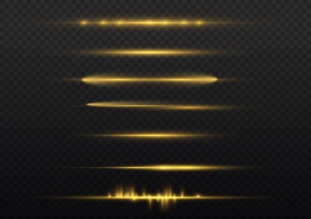 Rayons lumineux horizontaux, pack de fusées éclairantes horizontales jaune flash, faisceaux laser, ligne jaune éclatante.