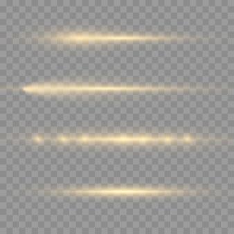Rayons lumineux horizontaux, pack de fusées éclairantes horizontales jaune flash, faisceaux laser, ligne jaune lueur, belle lumière parasite, éblouissement or brillant, illustration vectorielle