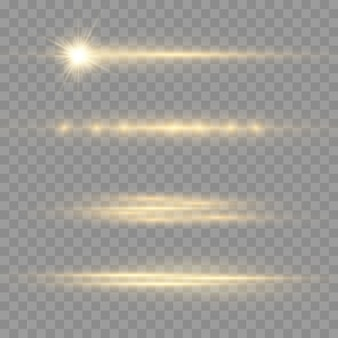 Rayons lumineux horizontaux, pack de fusées éclairantes horizontales jaune flash, faisceaux laser, ligne jaune lueur
